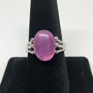 6 Prong Created Amethyst Silver Ring Size 8